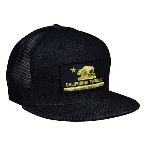 California Republic Trucker Hat by LET'S BE IRIE - Metallic Gold on Black Denim Snapback - Let's Be Irie™