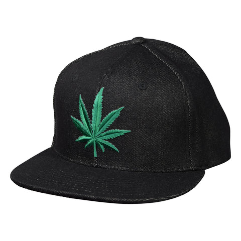 Cannabis Snapback by LET S BE IRIE - Black Denim - Let s Be ... bd166f17c156