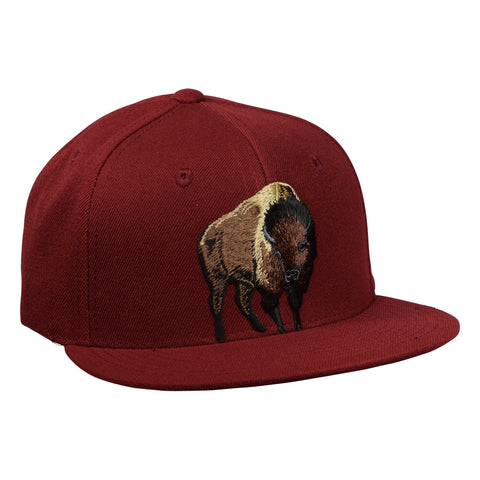 Brown Buffalo Snapback Hat by LET'S BE IRIE - Cardinal Red