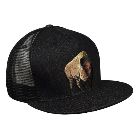 Brown Buffalo Trucker Hat by LET'S BE IRIE - Black Denim - Let's Be Irie™
