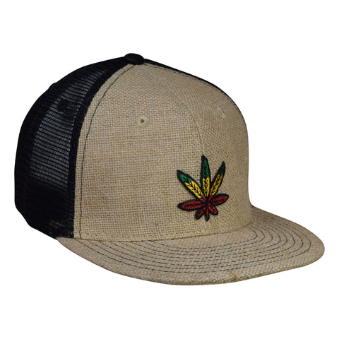 Cannabis Leaf Trucker Hat by LET'S BE IRIE - Rasta, Reggae Jute and Black Snapback - Let's Be Irie™