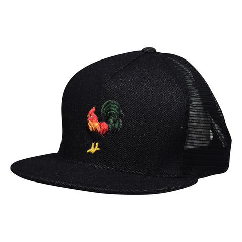 Rooster Trucker Hat - Black Denim Hat by LET'S BE IRIE - Let's Be Irie™