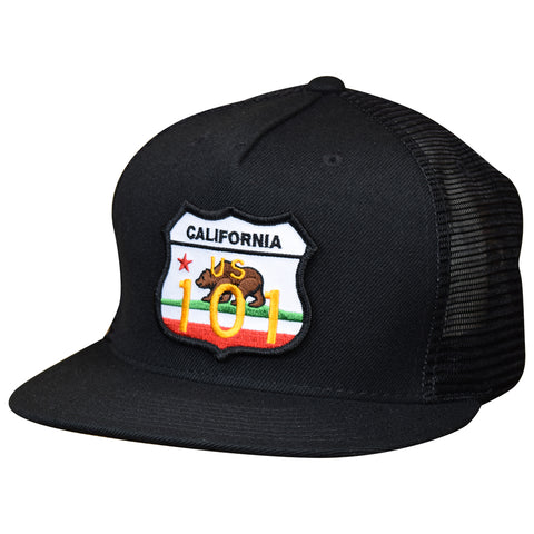 Highway 101 Hat by LET'S BE IRIE - Grizzly Bear, Black Trucker, Snapback