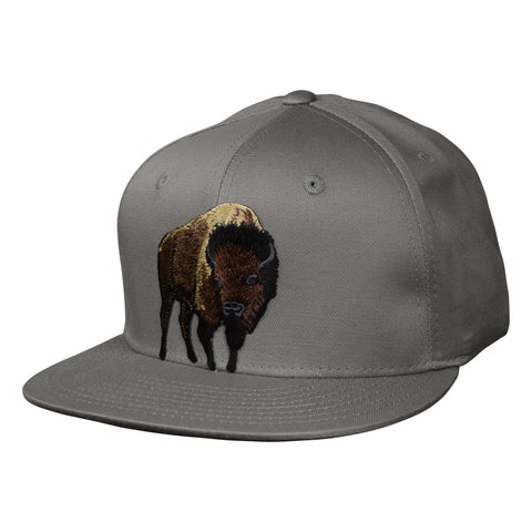 Brown Buffalo Snapback Hat by LET'S BE IRIE - Gray