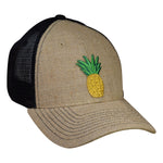 Pineapple Trucker Hat by LET'S BE IRIE - Jute and Black Snapback - Let's Be Irie™