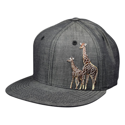 Giraffes Snapback Hat by LET'S BE IRIE - Washed Black Denim - Let's Be Irie™