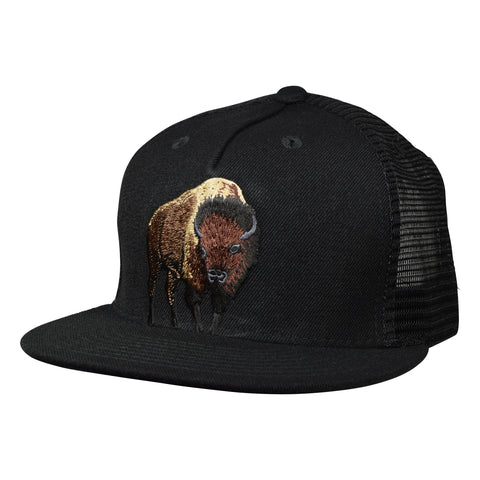 Brown Buffalo Trucker Hat by LET'S BE IRIE - Black Snaback