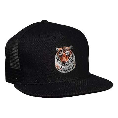 Tiger Trucker Hat by LET'S BE IRIE - Black Denim - Let's Be Irie™