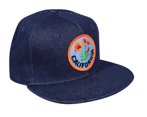 California Poppy Snapback Hat by LET'S BE IRIE - Blue Denim - Let's Be Irie™