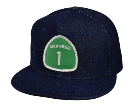 California Highway 1 Snapback Hat by LET'S BE IRIE - Blue Denim