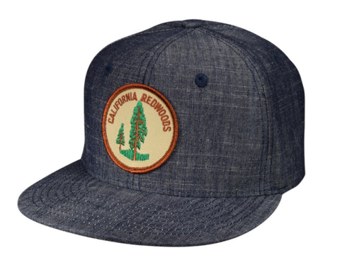 California Redwoods Snapback Hat by LET'S BE IRIE - Washed Blue Denim - Let's Be Irie™