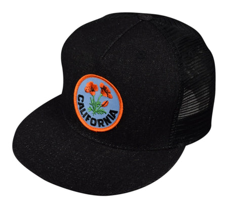 California Poppy Trucker Hat by LET'S BE IRIE - Black Denim - Let's Be Irie™