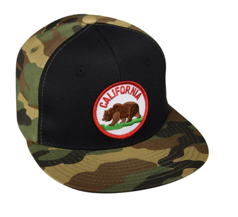 California Bear Snapback Hat by LET'S BE IRIE - Black and Camo