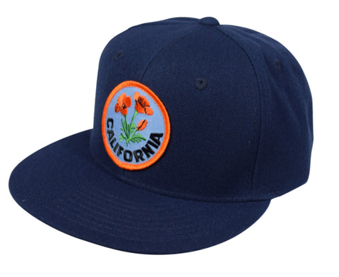 California Poppy Snapback Hat by LET'S BE IRIE - Navy Blue - Let's Be Irie™