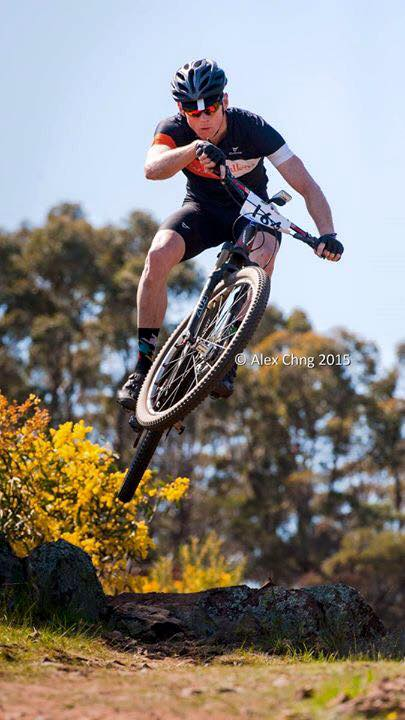 A CG Racer tearing it up on a mountain bike