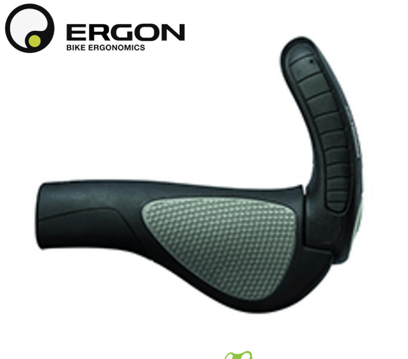 Ergon GP-3-L Grip Large, Black/Grey with Bar-end Grips