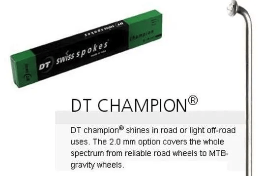 SPOKES - DT Champion Spoke, 293mm, SILVER (Sold Individually) - Staight Gauge 14G (2.0mm), J Hook, Stainless Steel