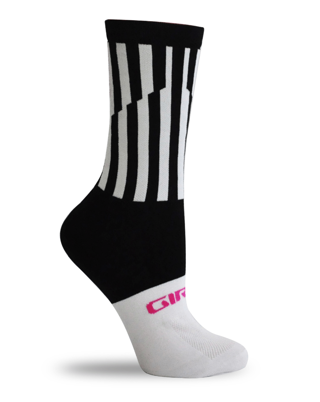 "GIRO COMP HIGH RISE - 6"" Cuff Sock - White / Black LINES - Cycles Galleria Melbourne"