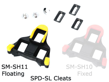 Shimano SH11 SPD-SL Road Cleat set - Yellow - Cycles Galleria