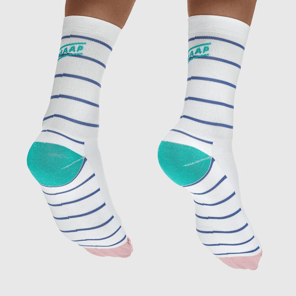 MAAP Breton Sock White/Navy - Cycles Galleria Melbourne