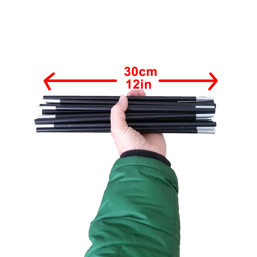 Tent poles, light weight aluminum, 30cm (12in) folding length (set of 2)