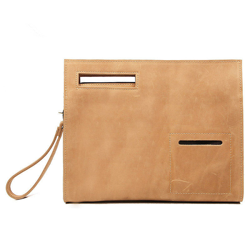 Man Handbag Handmade Leather Tablet Bag Ipad Bag  A0011B - Unihandmade