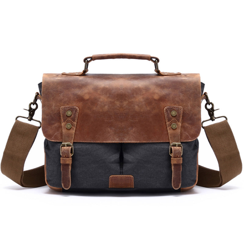 Personalized Monogram Canvas Messenger Bag Satchel Briefcase Laptop Bag