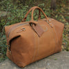 Handmade Vintage Brown Leather Travel Bag Mens Duffel Bag - Unihandmade