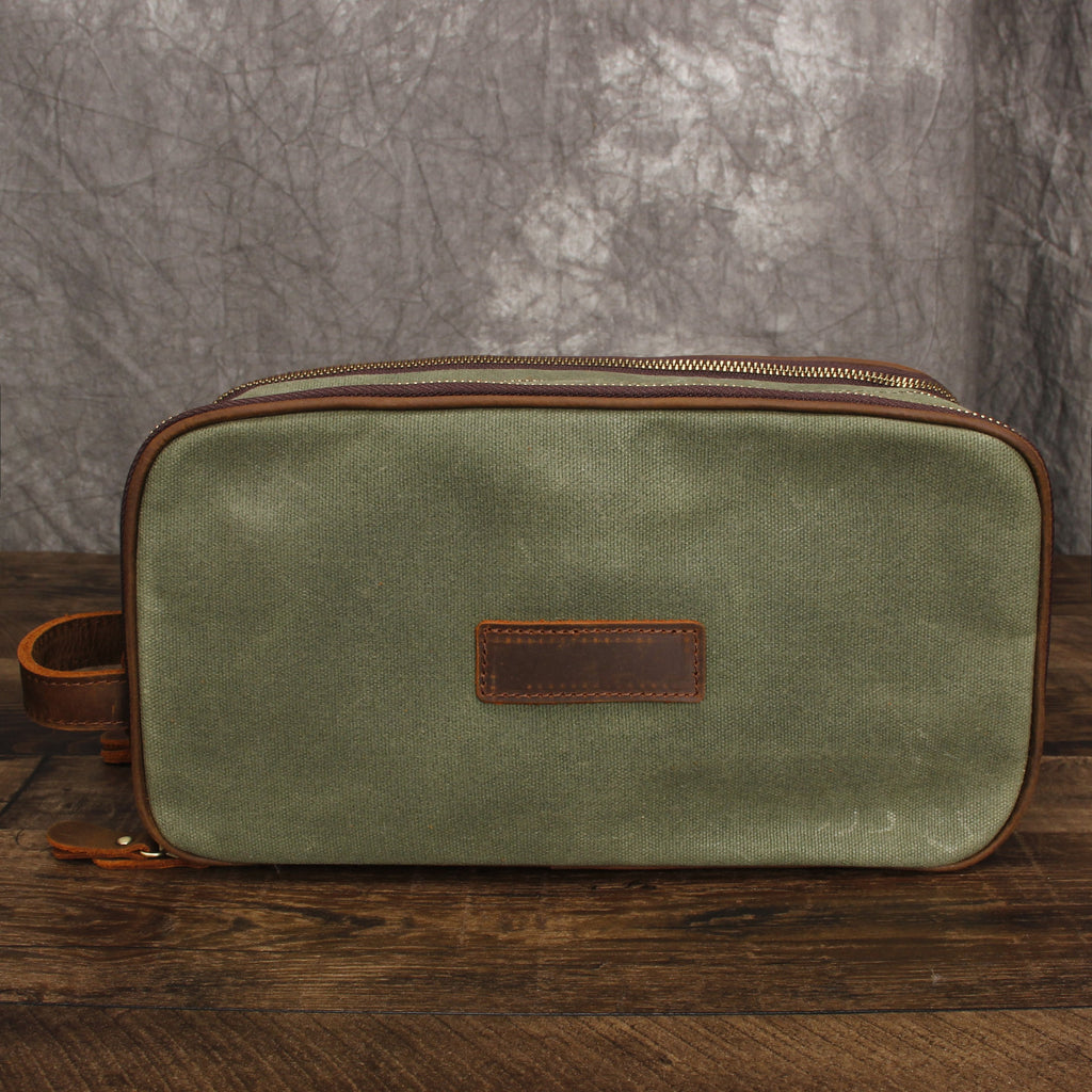 Groomsmen Gift Canvas Toiletry Bag Waxed Canvas Dopp Kit Shaving Kit
