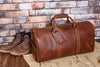 Handmade Full Grain Leather Travel Bag with shoe Pouch Weekend Bag Duffel Bag Leather Duffle with shoe Compartment - Unihandmade