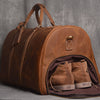 Personalized Monogram Full Grain Leather Duffle Bag with shoe Compartment Personalized Large Weekend Bag Vacation Holidays Travel Bag