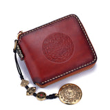 Handmade Leather Biker Wallet Clutch Zip Short Wallet NW102 - Unihandmade