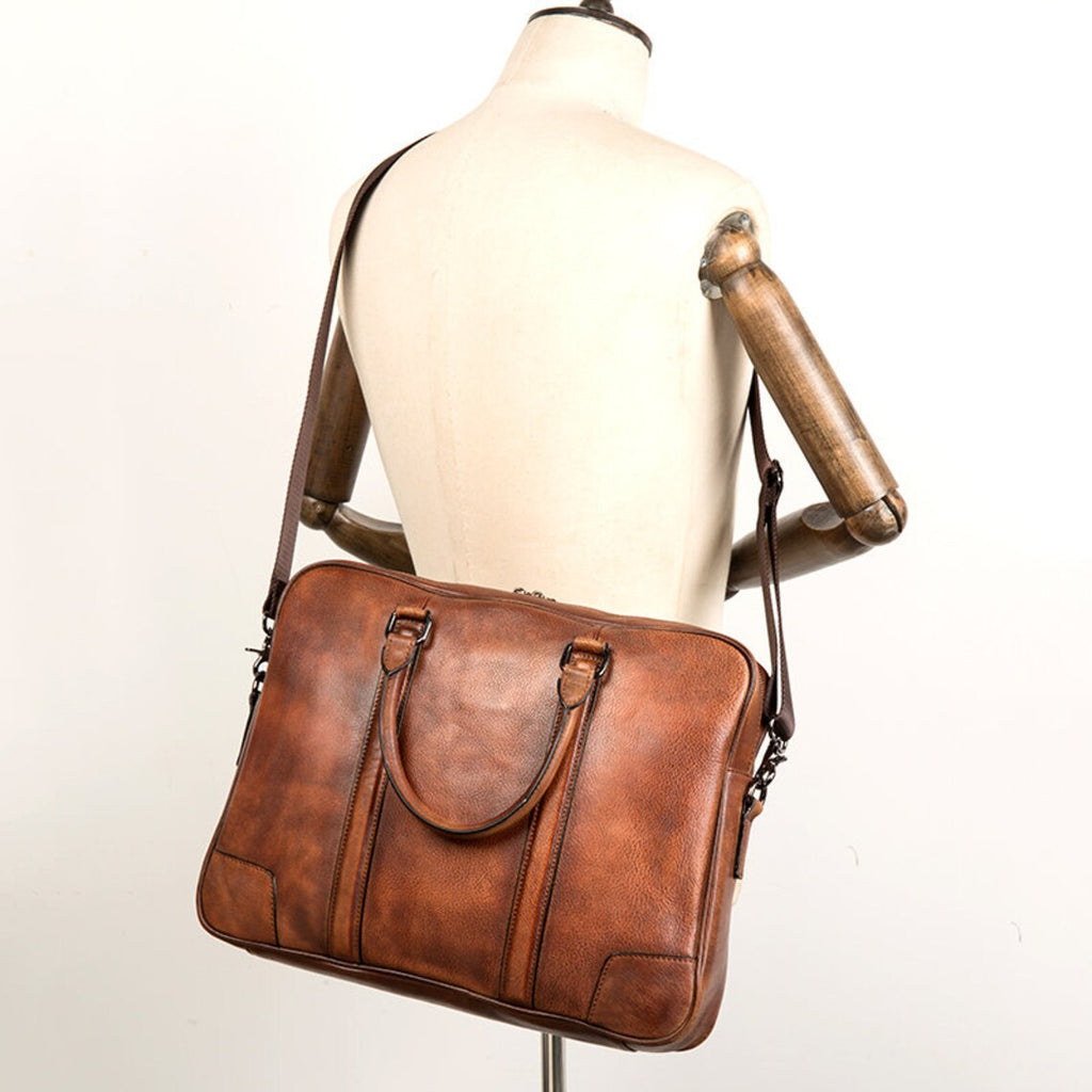 Luggage Weekender Bag Handmade Washed Canvas Carryall Tote Bag with Leather Straps 12031 - Unihandmade