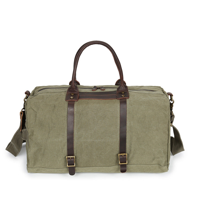 Waterproof Waxed Canvas Leather Trim Travel  Duffel Handbag Weekend Bag Overnight Duffle  2189 - Unihandmade