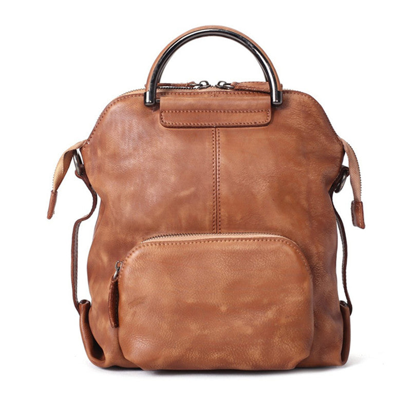 30c8fc34a823 Handmade Genuine Leather Hand Bag Convertible Backpack for Women Casual Leather  Backpack WF57