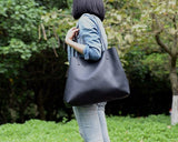 Women Tote Bag Handmade Vegetable Tanned Full Grain Leather Shopping Bag Shoulder Bag ZB-01 - Unihandmade