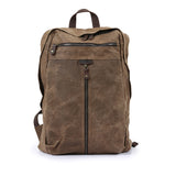 Waxed canvas backpack, Backpack for man, Canvas Bag with Leather Trim, Laptop Briefcase 5385 - Unihandmade