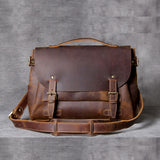 Handmade Vintage Leather Messenger Bag Men Crossbody Bag OAK021