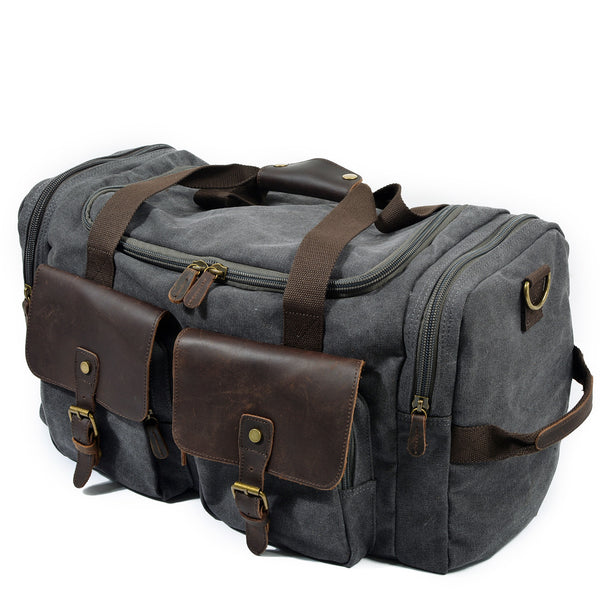 Waxed Canvas Leather Travel Bag Duffle Bag Weekender Bag AF14