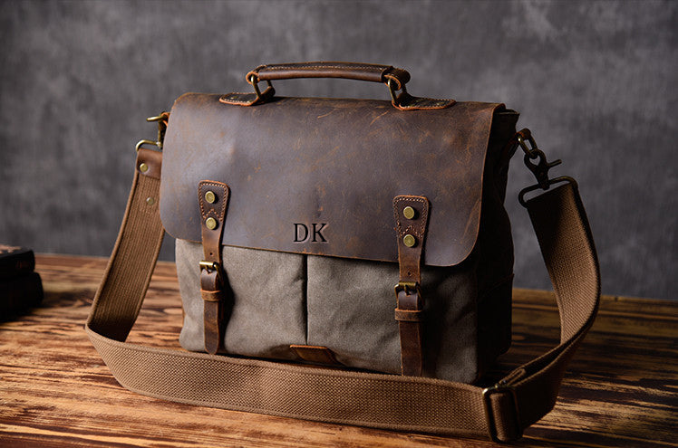 Crazy horse leather Vintage Canvas Messenger Bag 1807 - Unihandmade