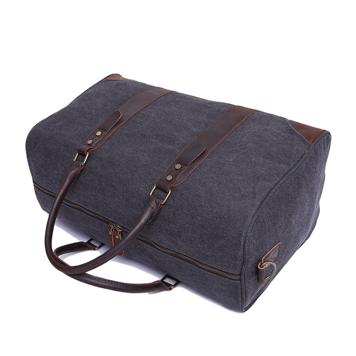 Canvas Duffel Waxed Canvas Leather Travel Bag Duffle Bag Weekender Bag with Side pocket F24