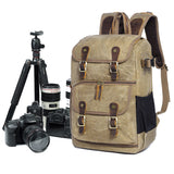 Camera Backpack Waxed Canvas Backpack Rucksack with insert 280 - Unihandmade
