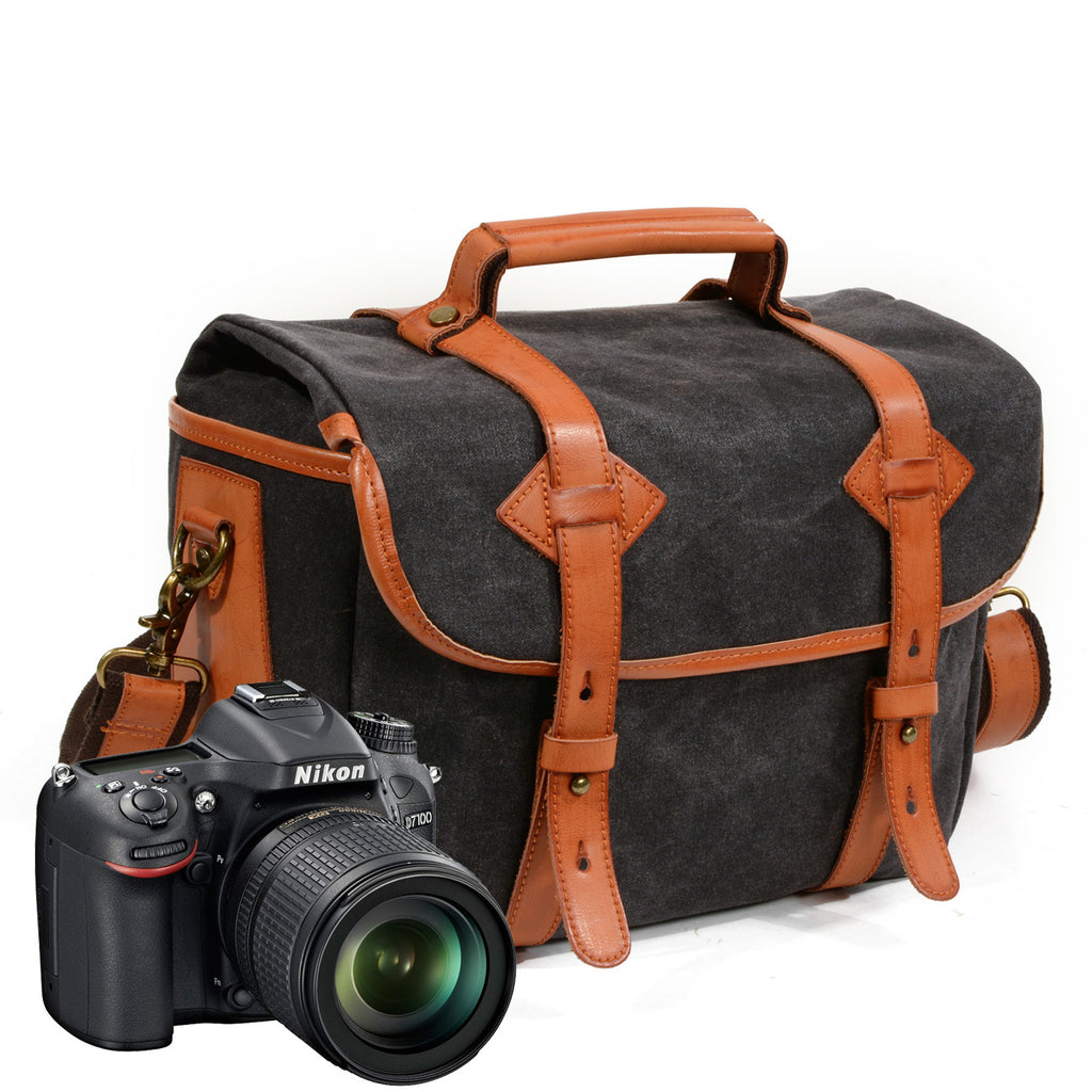 Waxed Canvas Leather Camera Bag Professional DSLR Camera Messenger Cross body Bag MC6100 - Unihandmade