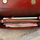 Hand Stitched Full Grain Vegetable Tanned Leather Card holder Phone Wallet F47 - Unihandmade