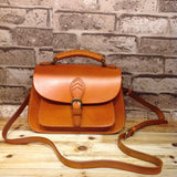 Hand Stitched Full Grain Vegetable Tanned Leather Messenger Bag Doctor Bag F41 - Unihandmade