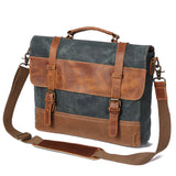 Handmade Waxed Canvas Handbag Waterproof Briefcase Messenger Bag Men Leather Shoulder Bag School Laptop Bag - Unihandmade