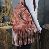 Handmade Full Grain Leather Backpack Fringe Backpack WF94 - Unihandmade