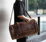 Full Grain Leather Travel Bag Gym Bag Carry On Luggage Bag Duffel Bag - Unihandmade