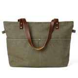 Diaper Bag Canvas with Leather Women Tote Bag Shoulder Bag Handbag 14022 - Unihandmade