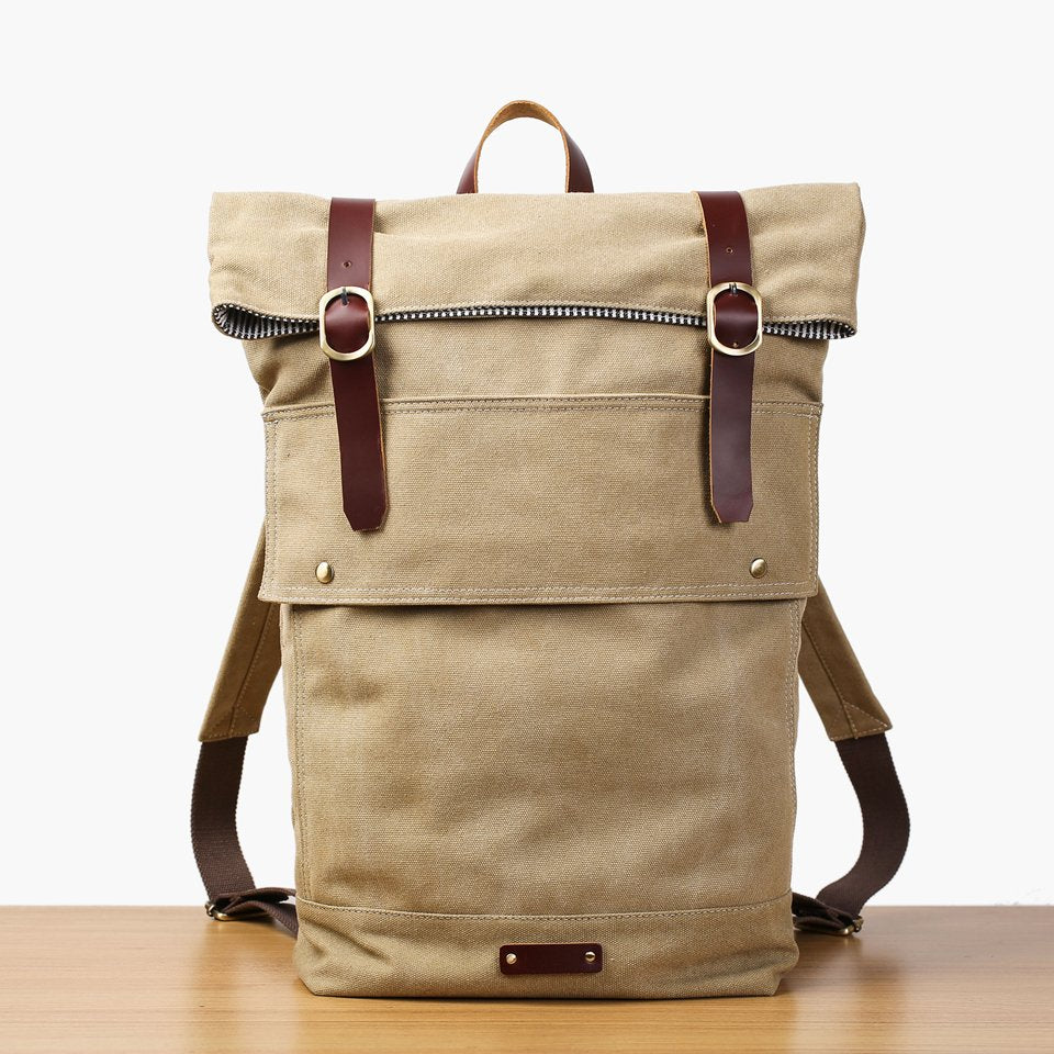 Handmade Canvas Leather Backpack School Backpack Rucksack Travel Backpack 16001 - Unihandmade